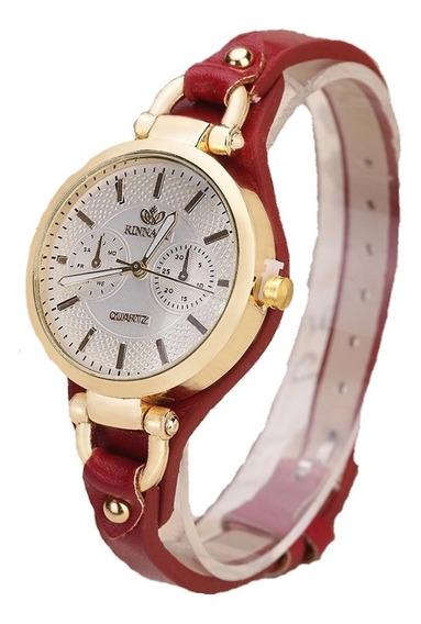 Relógio Feminino Em Promoção Em Couro Lindo Muito Top Luxo