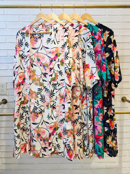 Kimono Mujer Camisa Larga Floreada Colores Playa