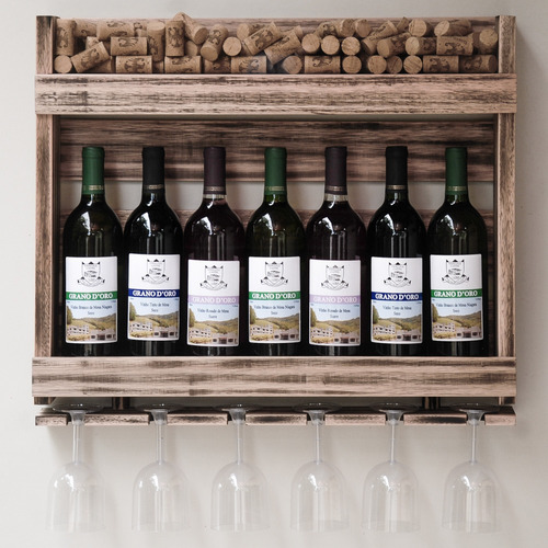 Imagem 1 de 6 de Adega Em Madeira Para 7 Garrafas De Vinho Com Porta Rolhas