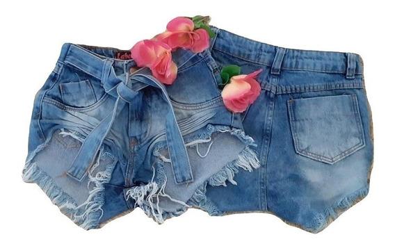 2 Short Jeans Feminino Short Cintura Alta Supe Luxo Hot Pant