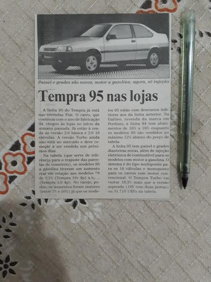 Recorte Jornal Matéria Fiat Tempra 1995 Já Está Nas Revendas