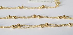 Colar Cordão De Bolinha Em Ouro 18k De 80 Cm Longo Grande