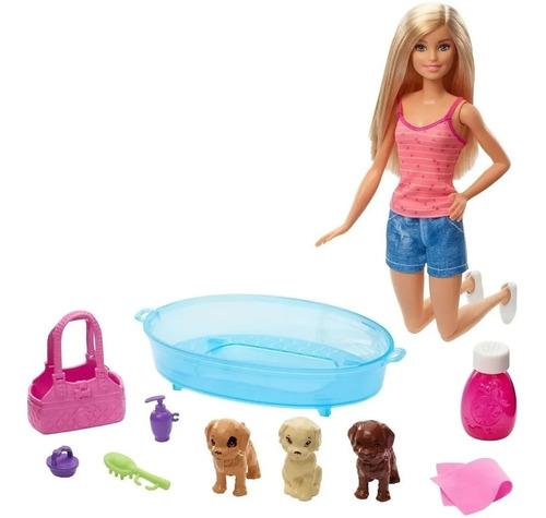 Barbie Set Cuidado De Cachorros Con Bañera Y Accesorio Gdj37