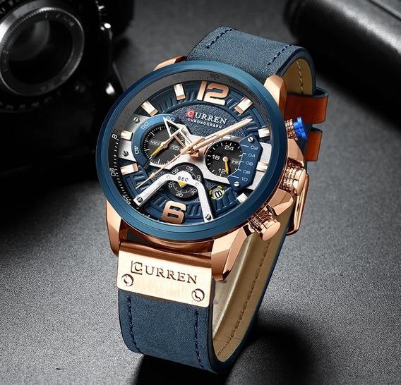 Relógio Masculino Pulseira Couro Resistente Água/curren