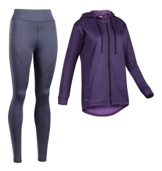 Conjunto Con Calza Topper Wmns 1 Fitness Violeta De Mujer