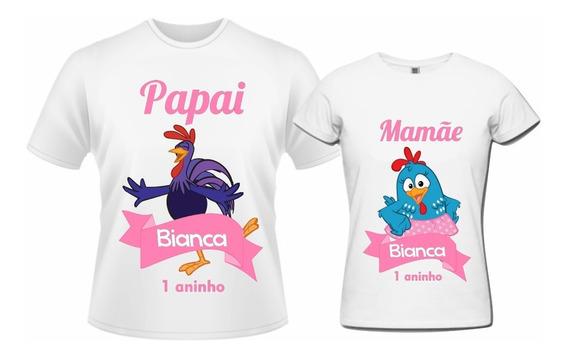 Camisetas Personalizadas Galinha Pintadinha Rosa - 2pçs