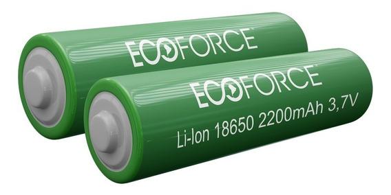 Kit 2 Pilha Bateria Lítio Recarregável 3,7v 2200mah Ecoforce