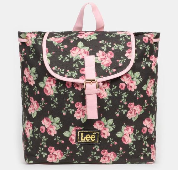 Mochila Lee Estampado Flores Negro/rosa 45x43x14