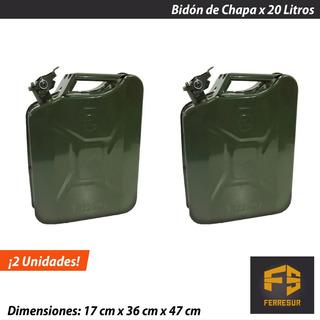 Bidon Combustible Chapa 20 Lts Tapa Seguridad X 2 Unidades
