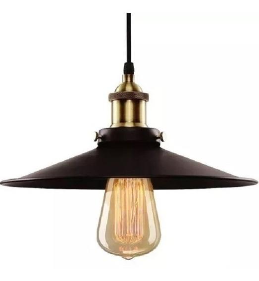 Pendente Industrial 26 Cm +lampada De Led - 2 M De Fio