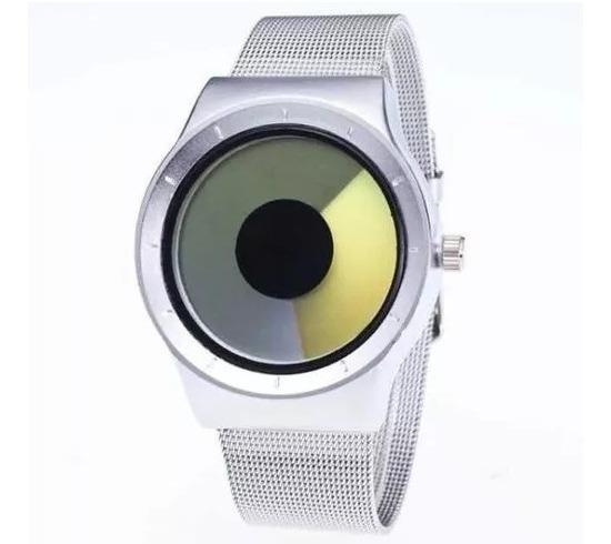 Relógio Futurista Unissex Conceito Criativo Em Malha Metal