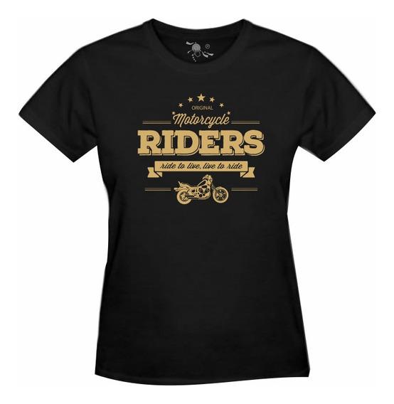 Camiseta Bobber Motocicleta Estampa Dourada - Feminina