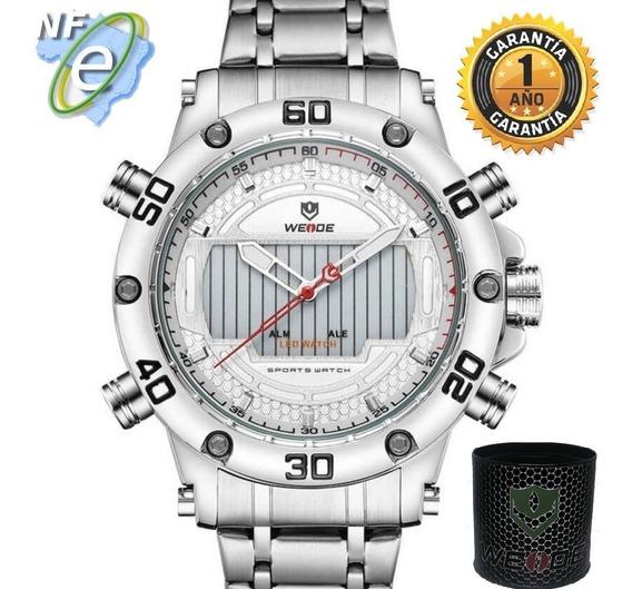Relógio Masculino Original Prata Cinza Grande Aço Resistente