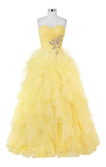 Vestido Xv Años Amarillo Strapless