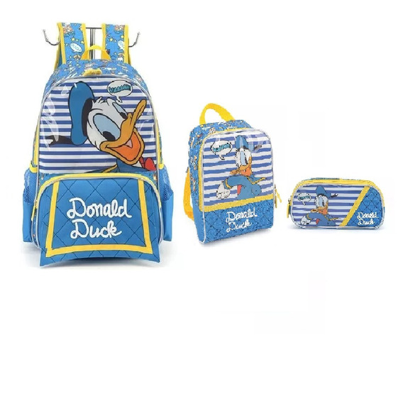 Kit Mochila + Lanch +estojo Donald 33181- Original