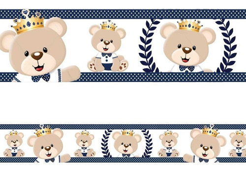 Imagem 1 de 2 de 2 Faixas Borda Adesivo De Parede Urso Príncipe Ursinho Rei
