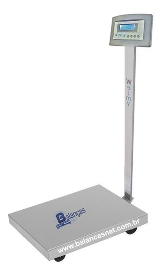 Balança Eletrônica Inox 300kg X 50g Plataforma 50x60 Bateria