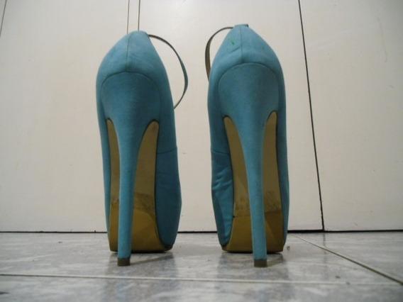 Zapatos Tacon Alto 13cm.punta Plataforma Talla 36 Gamusa