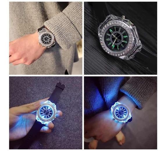 Relógio Black Analógico Luminoso Colorful Com Strass