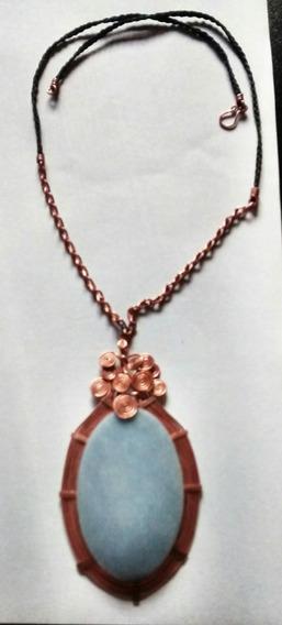 Collar Artesanal De Piedra Y Cobre. Filigrana