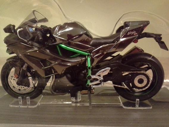 Miniatura Moto Kawasaki H2 Versão De Rua Salvat 1:18 (11 Cm)