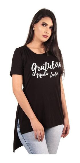 Kit Com 3 Blusas Camisas Camisetas Femininas Long Estampadas