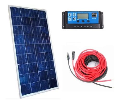 Imagem 1 de 3 de Kit Painel Solar Placa Célula 150w + Controlador + Cabos 15m