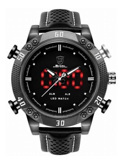 Relógio Masculino Shark Anadigi Sh-264 - Preto E Branco