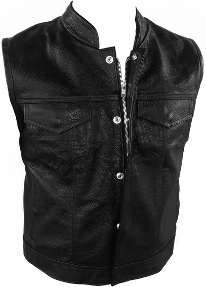 Chaleco De Piel Sons Of Anarchy Magnum Zipper Y Gun Pocket