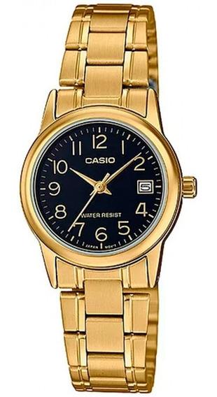 Relógio Casio Feminino Analógico Dourado Preto Original Nota