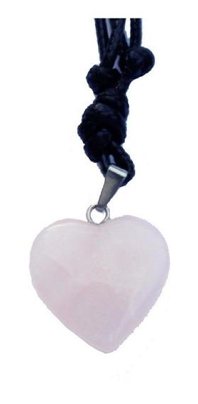 Cordão Couro Colar Pedra Natural Coração Rosa Artesanal Amor