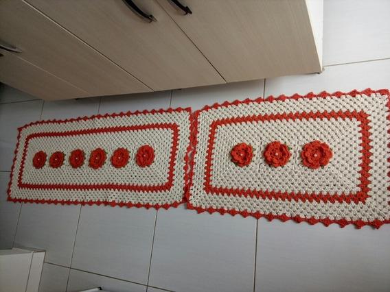 Jogo De Tapete. Croché De Cozinha Com 3 Peça