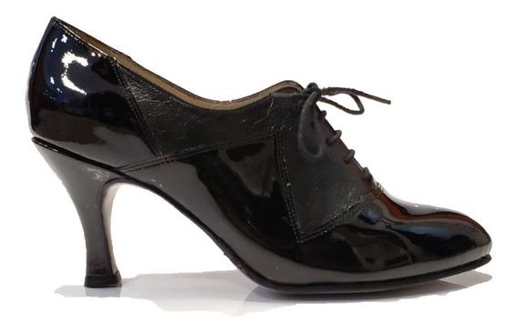 Zapatos De Baile Charol Cuero Negro Punta Cerrada Taco Alto