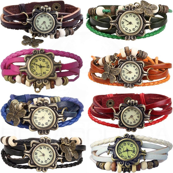 3x Relógio De Pulso Pulseira C/ Pingente Borboleta Vintage