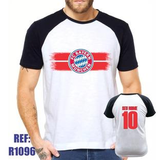 Camisa Raglan Bayern Munchen Futebol Personalizada Com Nome