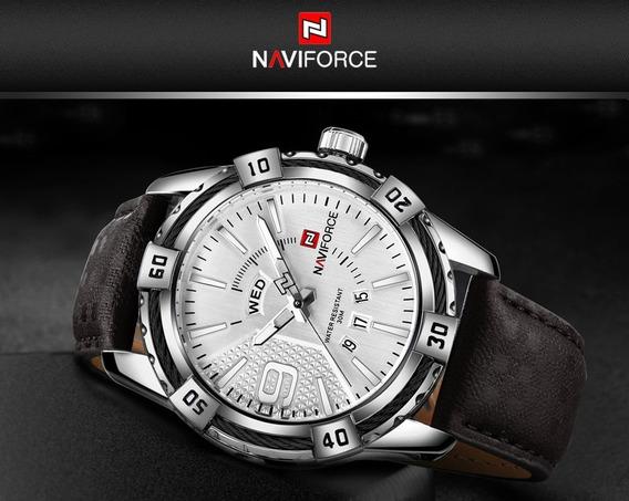 Relógio Naviforce Masculino / Pulseira Couro Marrom / Nf9117