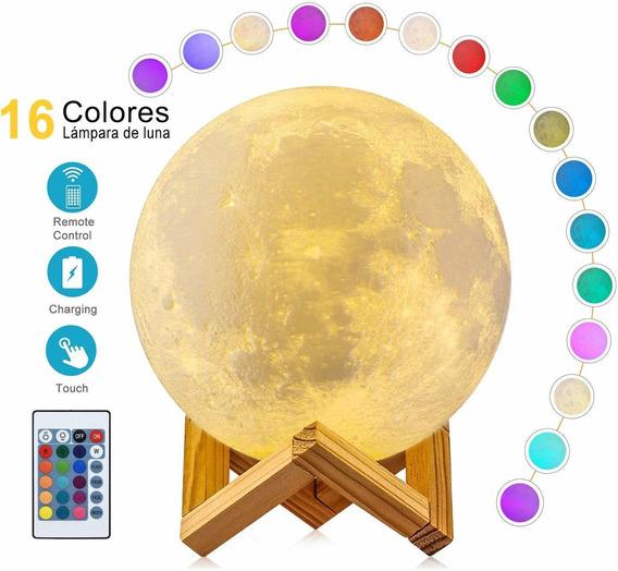 Lámpara De Luna 3d 16 Color Touch Lámpara Recargable 15cm
