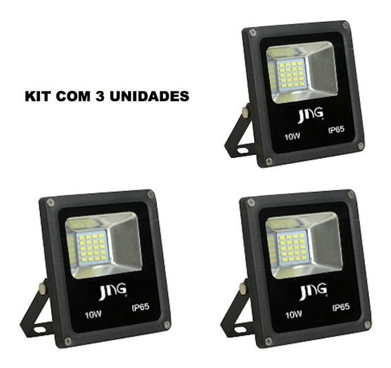 Kit 3x Refletor Super Led Jng Eco 10w 6500k Branco Frio Biv
