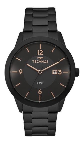 Relógio Technos Preto Masculino Classic Steel 2115moh/4p