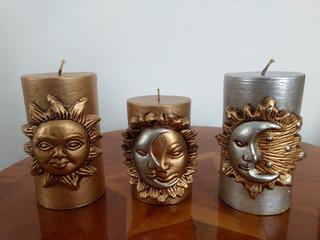Velas De Sol, Eclipse Y Luna En Oro Y Plata Rústico