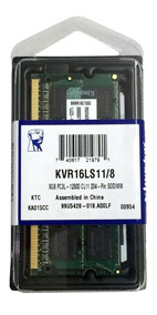 Memória Kingston Note Ddr3 Kvr16ls11/8 1600 Low 1.35v - 8gb