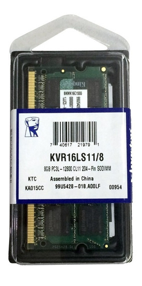 Memória Kingston Note Ddr3 Kvr16ls11/8 1600 Low 1.35v - 8gb