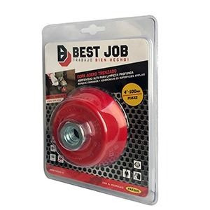 Cepillo De Acero Trenzado 100mm - Con Rosca M14x2  Best Job