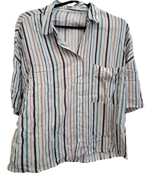 Camisa Fibrana Amplia. Importada Pull&bear! Nueva! (n024)