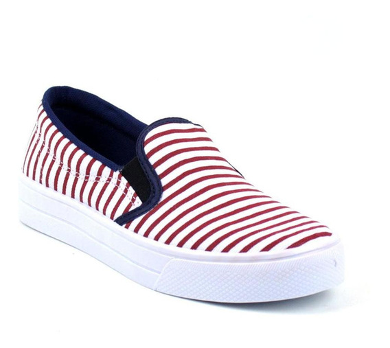 Tênis Tag Shoes Slip On Navy Listrado Conforto Dia A Dia