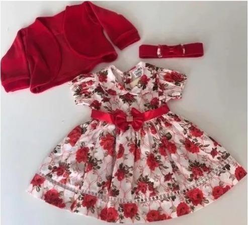 Kit Com 3 Vestidos De Bebe Com Bolero E Tiara 100% Algodão