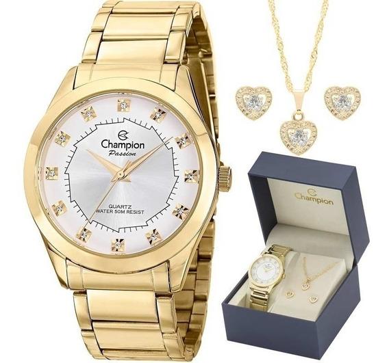Relógio Champion Feminino Dourado Ch24759w + Kit Bijouteria