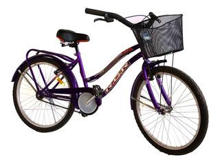Bicicleta Playera 24 Equipada Con Canasto