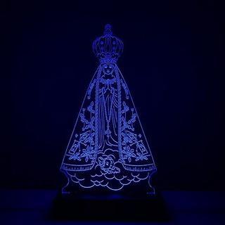 Abajur Nossa Senhora Aparecida Luminária Em Acrílico E Led