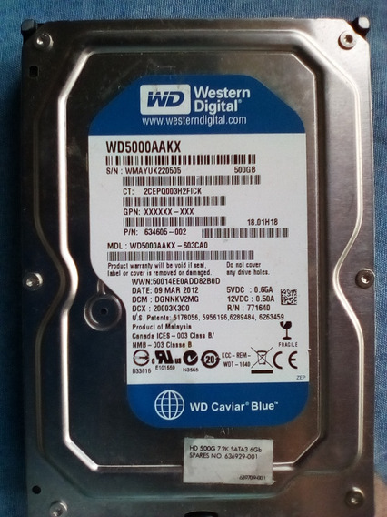 Disco Duro Western Digital 500gb Sata Para Pc